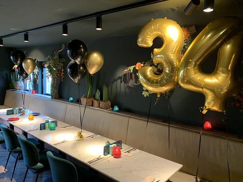 Folieballon Cijfer 34 En Tafeldecoratie 3ballonnen Finca Rotterdam