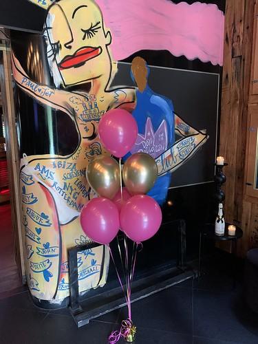 Tafeldecoratie 6ballonnen The Harbourclub Rotterdam