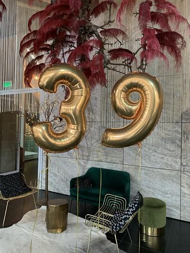 Folieballon Cijfer 39 Verjaardag Nhow Hotel Rotterdam
