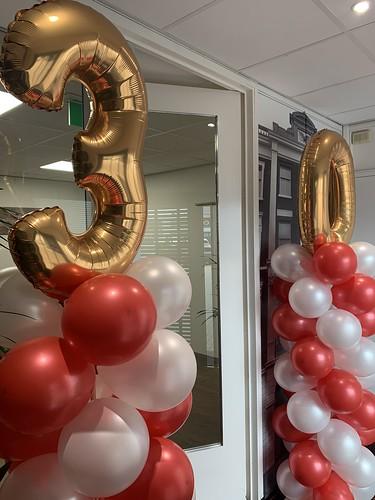Ballonpilaar Breed Met Folieballon Cijfers Imto Benelux Rotterdam