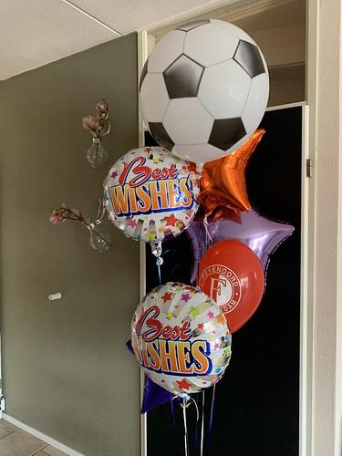 Ballonboeket Beste Wishes Succes Voetbal Feyenoord Rotterdam