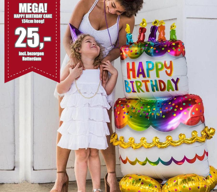 Mega Happy Birthday Cake 134cm Hoog, 25,- euro incl. bezorgen Rotterdam